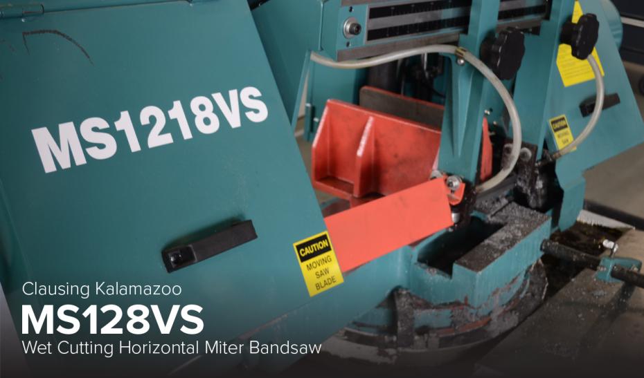 image of Clausing Kalamazoo MS128VS wet cutting horizontal miter bandsaw at CDME