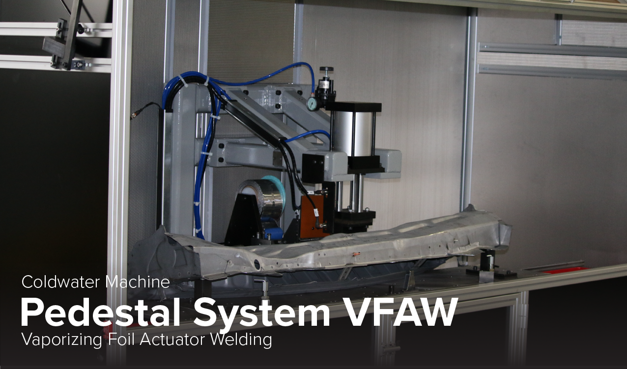 photo of Coldwater Machine pedestal System VFAW vaporizing foil actuator welding at Ohio State' CDME