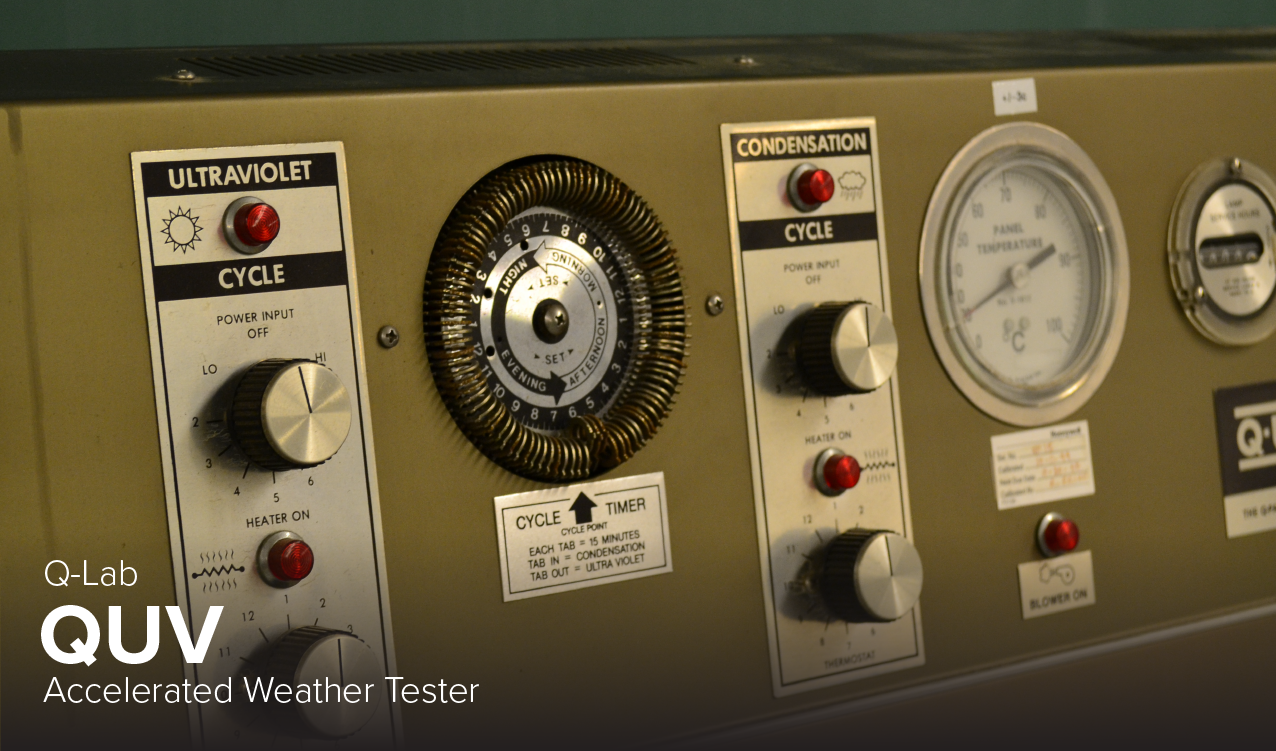 image of Q-lab QUV accelerated weather tester at CDME